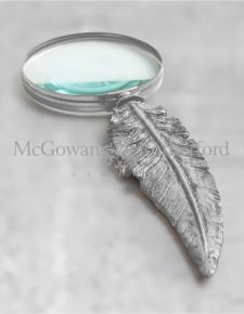 Antique Silver Feather Handled Magnifying Glass (to be ordered in qtys of 2)