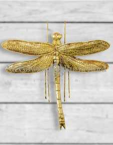 Large Antique Gold Dragonfly Wall Figure