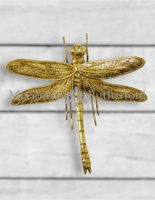 Medium Antique Gold Dragonfly Wall Figure