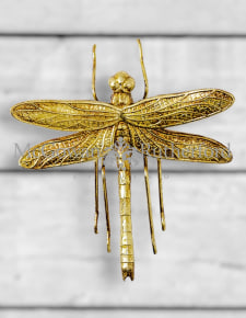 Small Antique Gold Dragonfly Wall Figure
