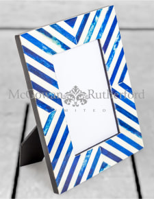 "Blue/Grey & White Bone Inlay 4x6"" Photo Frame"