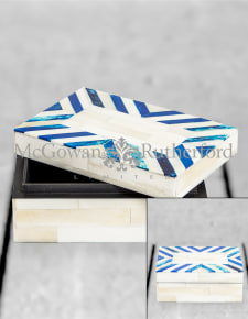 Blue/Grey & White Bone Inlay Small Storage Box