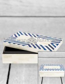 Blue/Grey & White Bone Inlay Large Storage Box