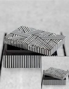 Black and White Striped Small Storage Box