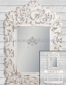 Rustic Chantilly White Large Carved Wall Mirror