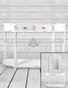 Rustic Chantilly White Console Table