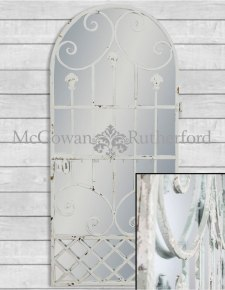 Rustic Chantilly Blue Tall Garden Gate Wall Mirror