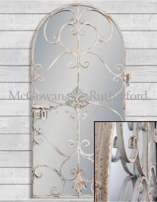 Rustic Chantilly Grey Garden Gate Wall Mirror