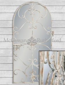 Rustic Chantilly Blue Garden Gate Wall Mirror