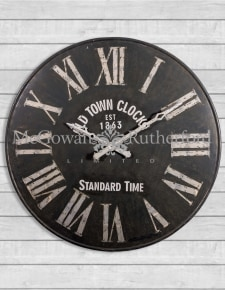 Extra Large Antiqued Iron Wall Clock with Steel Numerals