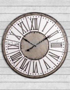Extra Large Antiqued Iron and Wooden Wall Clock