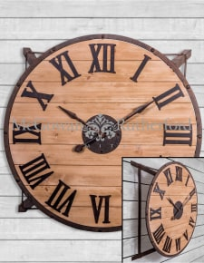 Extra Large Iron Frame and Wood Industrial Wall Clock