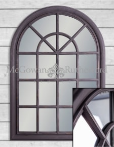 Rustic Black Arched Window Mirror