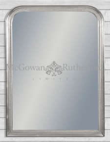 Antique Silver Beaded Portrait Wall Mirror