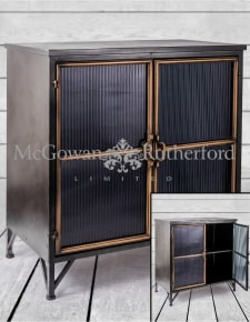 "Black and Antique Gold ""Orwell"" Wide Cabinet"
