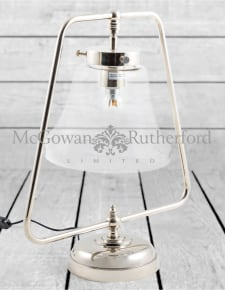 Nickel with Glass Shade Table Lamp