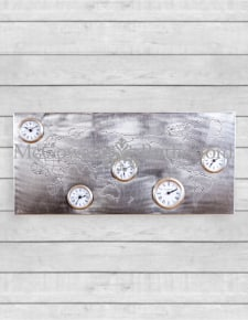 Large Antiqued Nickel/Pewter World Map Wall Clock