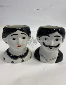 Black and White S/2 Large Man and Woman Ceramic Pots