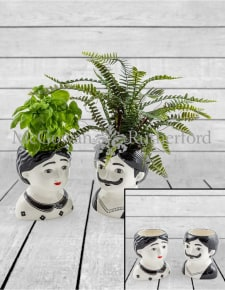 Black and White Set of 2 Large Man and Woman Ceramic Pots
