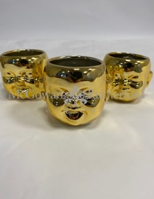 Set of 3 Gold Plated Ceramic Mini Baby Face Pots