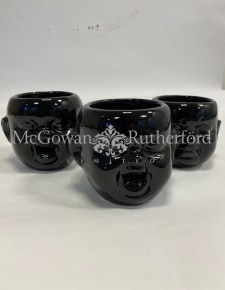 Set of 3 Black Ceramic Baby Face Wall Pots