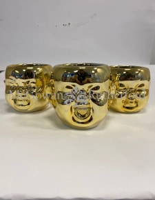 Set of 3 Gold Plated Ceramic Baby Face Wall Pots