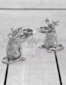 Pair of Silver Mouse Candle Holders