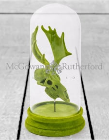 Green Flocked Moose Skull in Glass Dome