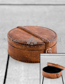 Antique Leather Effect Hat Box Storage Box