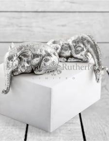 "Silver Set of 2 ""Peering Over"" Giraffe and Elephant Figures"