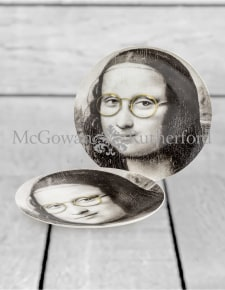 "Set of 2 Black and White Mona Lisa Face 10"" Ceramic Plates - Glasses"