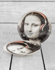"Set of 2 Black and White Mona Lisa Face 10"" Ceramic Plates - Headphones"