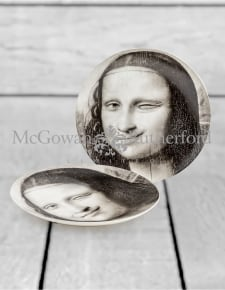"Set of 2 Black and White Mona Lisa Face 10"" Ceramic Plates - Wink"