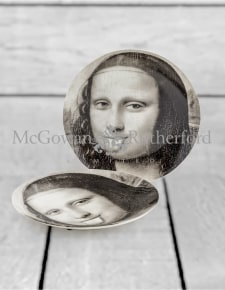 "Set of 2 Black and White Mona Lisa Face 10"" Ceramic Plates - Tongue"
