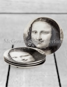 "Set of 4 Black and White Mona Lisa Face 7"" Ceramic Plates - Wink"