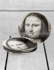 "Set of 4 Black and White Mona Lisa Face 7"" Ceramic Plates - Tongue"