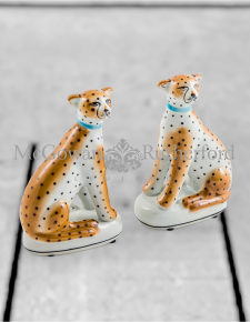 Pair of Ceramic Sitting Leopard Figures