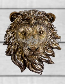 Small Antique Bronze Effect Lion Wall Head