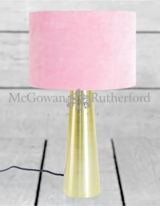 Brass Column Table Lamp with Pink Velvet Shade