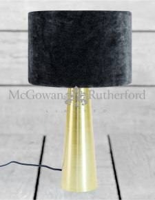 Brass Column Table Lamp with Black Velvet Shade