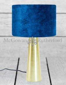 Brass Column Table Lamp with Royal Blue Velvet Shade