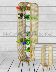 Rustic Metal Rattan Large 14 Bottle Wine Rack