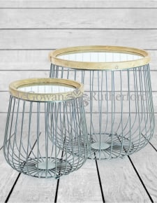 Set of 2 Iron, Wood and Glass Round Side Tables