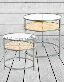 Iron, Glass and Rustic Metal Rattan Set of 2 Round Side Tables