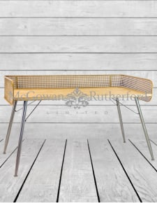 Rustic Metal Rattan, Wood and Iron Retro Desk/Console Table