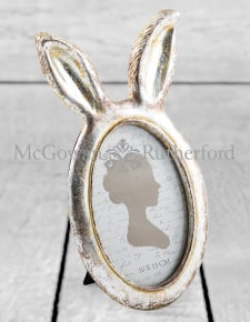 Small Antique Silver Rabbit Ears Photo Frame