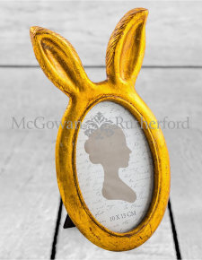 Small Antique Gold Rabbit Ears Photo Frame