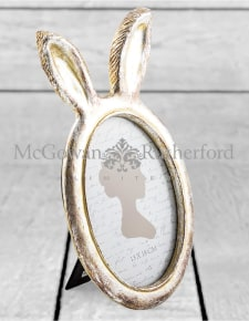 Large Antique Silver Rabbit Ears Photo Frame