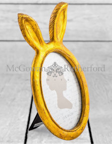 Large Antique Gold Rabbit Ears Photo Frame