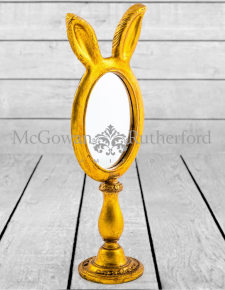 Small Antique Gold Rabbit Ears Table Mirror